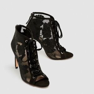 ZARA Lace-up Embroidered High Heel Shoes Size 10